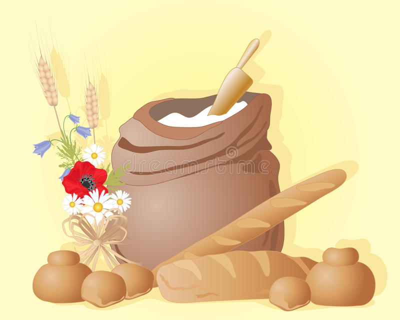 Flour sack. An illustration of a flour sack and scoop with bread loaves buns and a wildflower posy on a sunny yellow background with space for text stock illustration