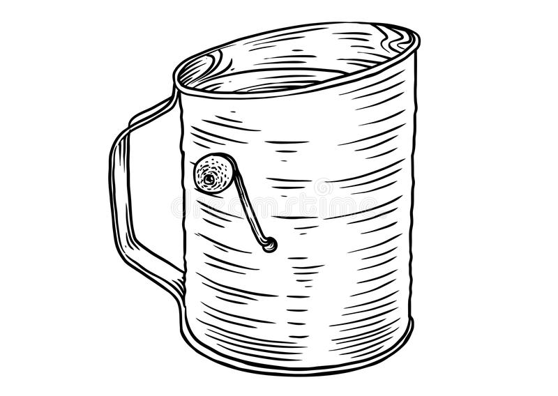 Flour Sifter Illustration, Drawing, Engraving, Line Art ...