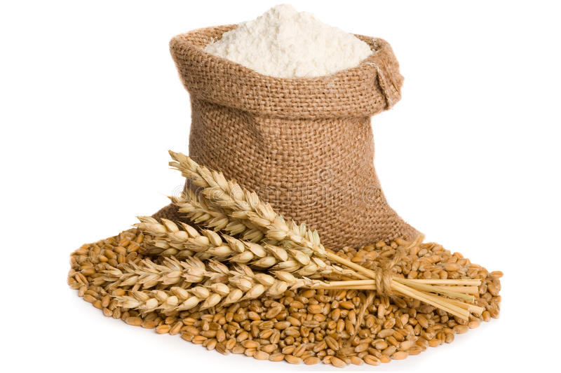 Flour in small burlap sack stock images