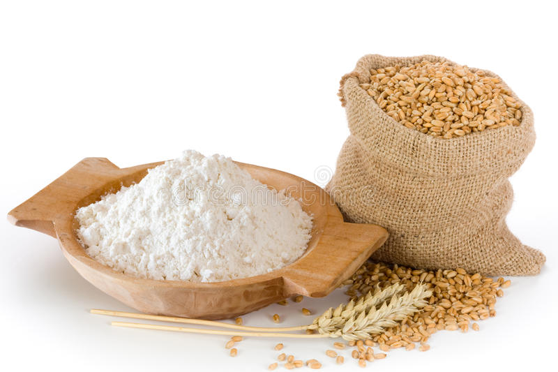 Flour and wheat grain royalty free stock images