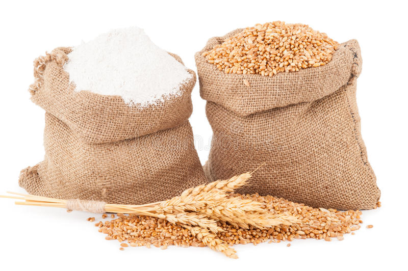 Flour and wheat grain royalty free stock photo