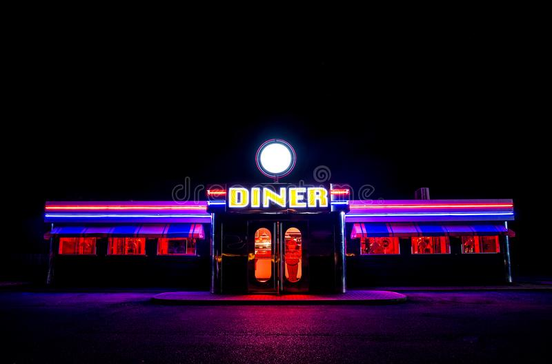 Flourescent American Diner At Night royalty free stock image