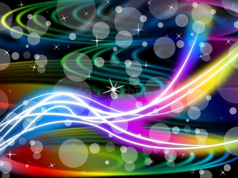 Flourescent zawijasa tło Znaczy Kolorową przestrzeń I Gulgocze ilustracji