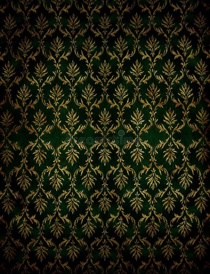 Flourish classical wallpaper. Absract retro green flourish classical template royalty free stock photos