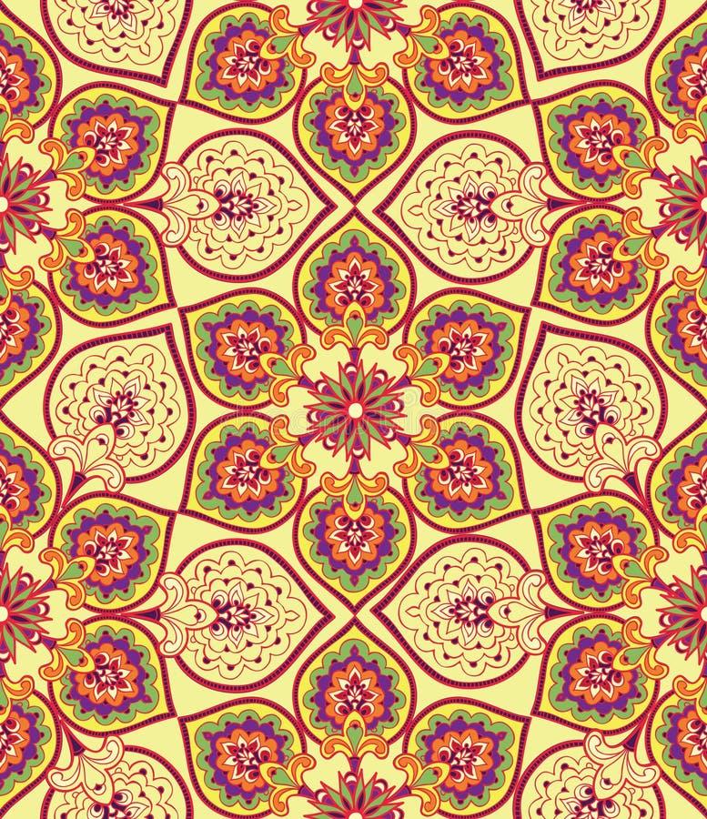 Flourish deckte Muster mit Ziegeln Abstrakte geometrische mit Blumennahtlose orien lizenzfreie stockfotografie