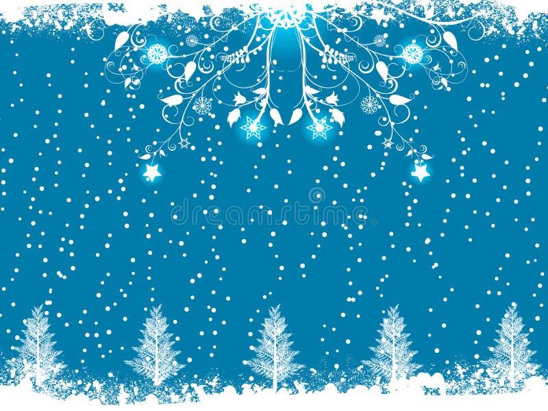 Flourish di inverno e priorità bassa blu dell'albero di Natale illustrazione di stock