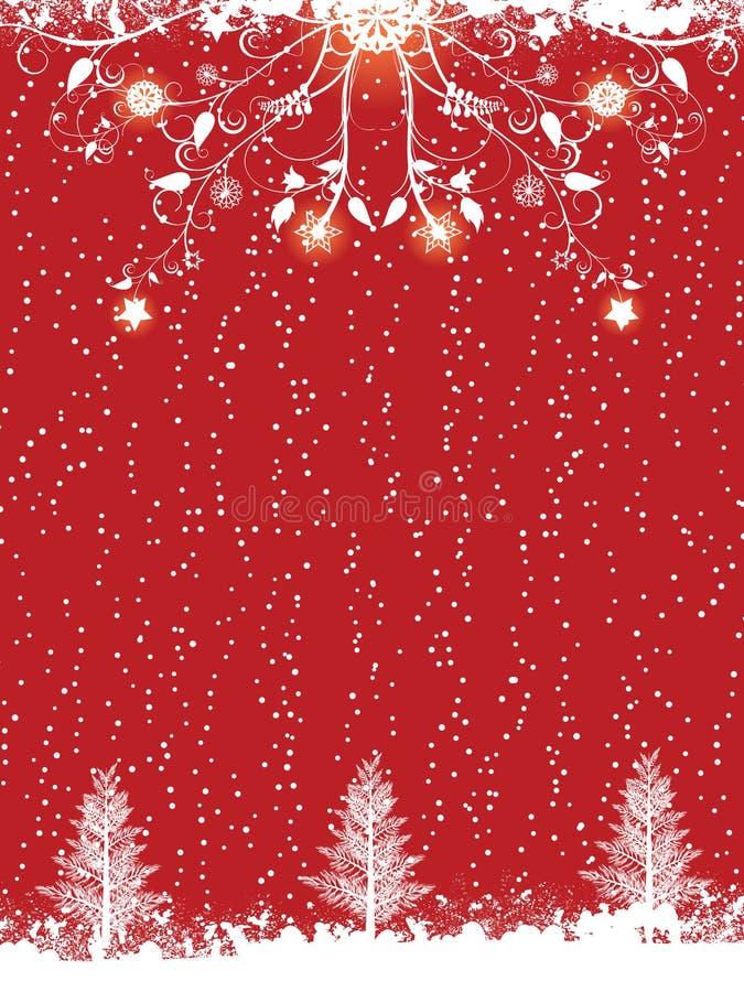 Flourish di inverno e priorità bassa rossi dell'albero di Natale royalty illustrazione gratis