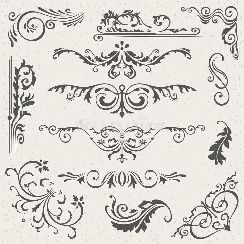 Flourish-Grenzecke und Rahmen-Element-Sammlung Vektor-Karten-Einladung Viktorianischer Schmutz kalligraphisch hochzeit vektor abbildung