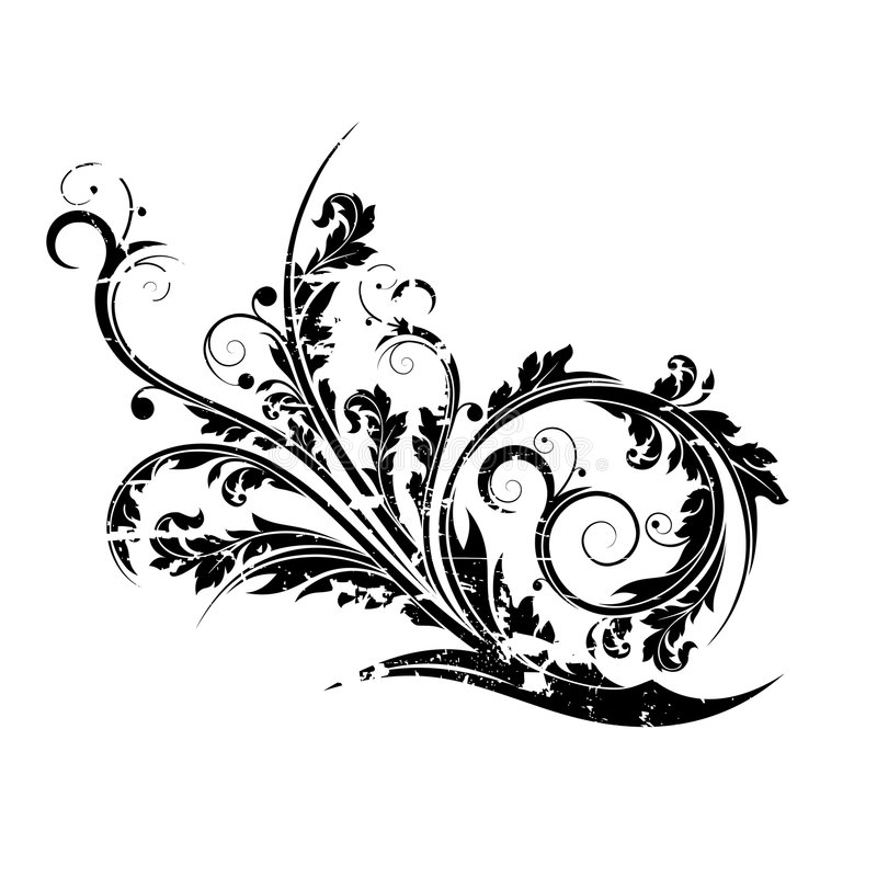 Flourish isolato grunge astratto illustrazione vettoriale