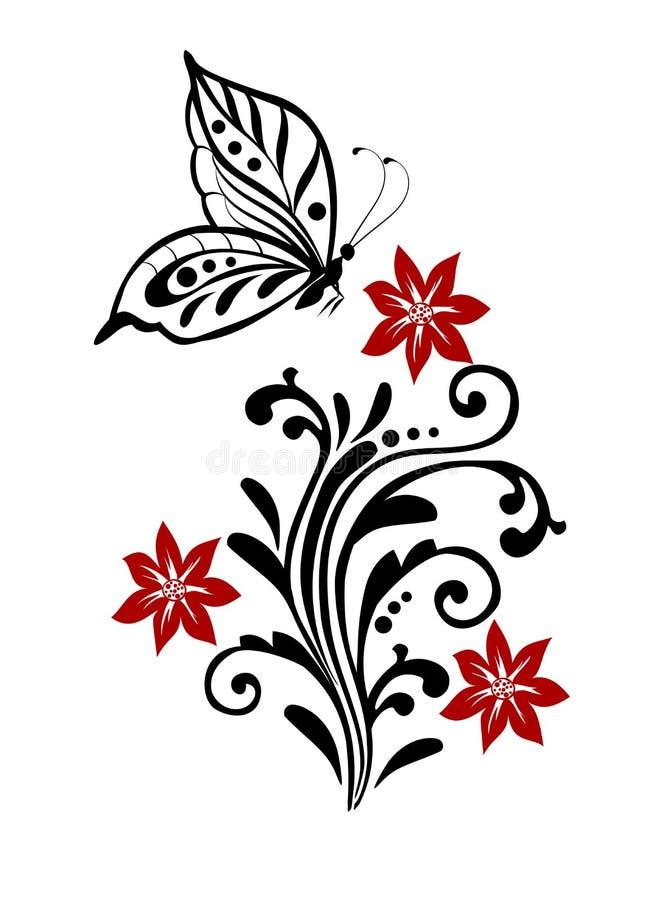 Flourish mit Schmetterling lizenzfreie abbildung
