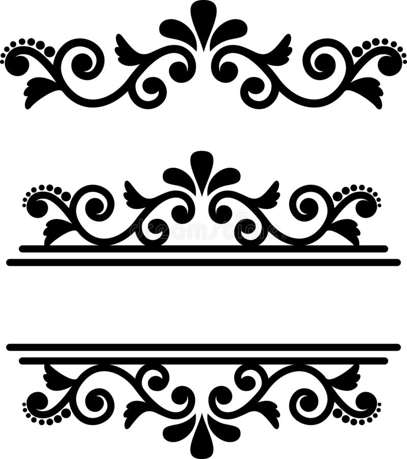 Flourish Monogram Frame, Decorative Vintage Ornament, Ornamental Divider. royalty free illustration