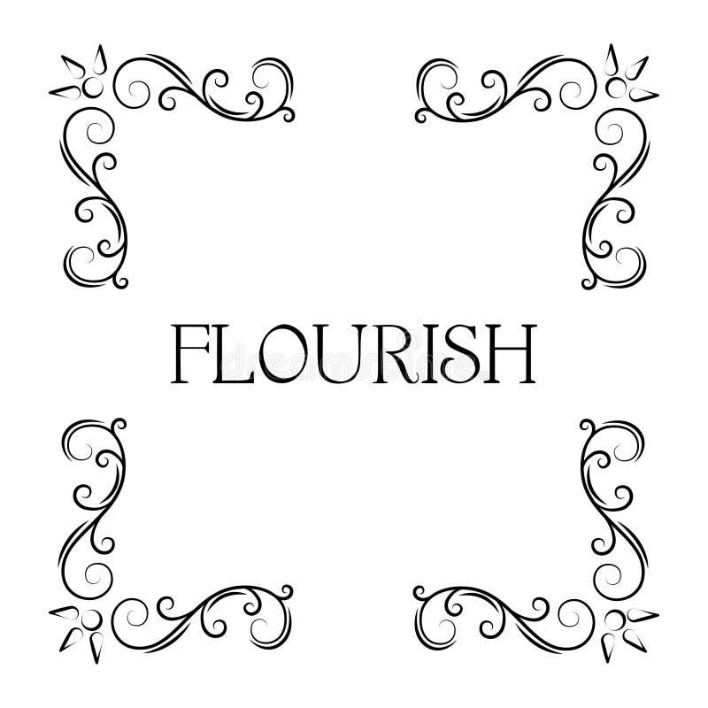 Flourish ornamental corners. Filigree swirly page decoration, calligraphic page divider. Floral vintage style. Vector. Flourish ornamental corners. Filigree vector illustration