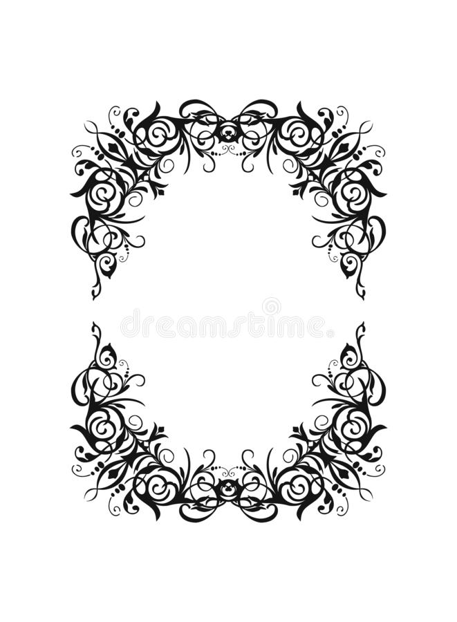 Vector silhouette vintage black rectangle oval frame with retro flourish baroque ornament stock illustration