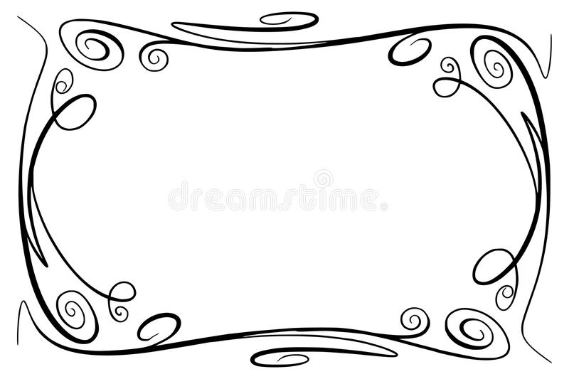 Flourish Vector Frame. Rectangle with squiggles, twirls and embellishments for image and text elements. Hand drawn black vector illustration