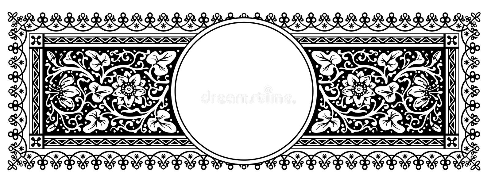 Flourish Vintage Vector Panorama Banner Design with Ornamental Frame vector illustration