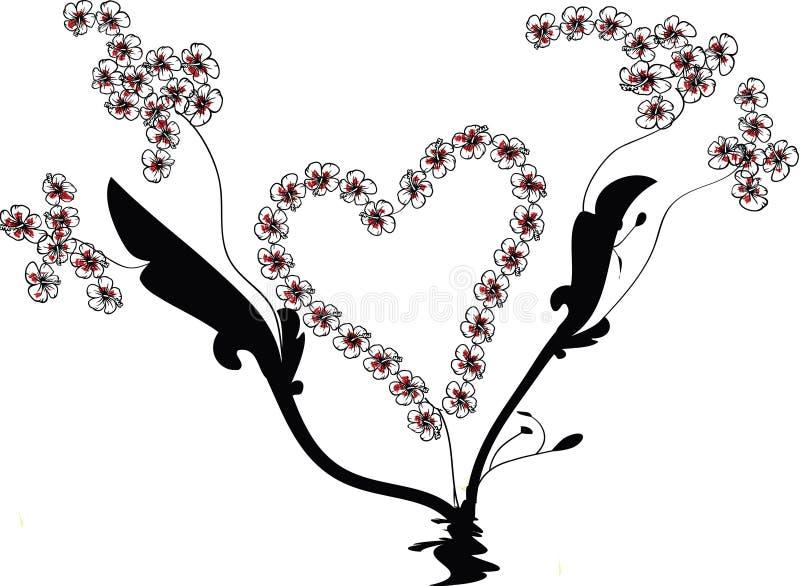 Flourish-Vektor mit Herz-Form und Blumen-Reben stockfotos