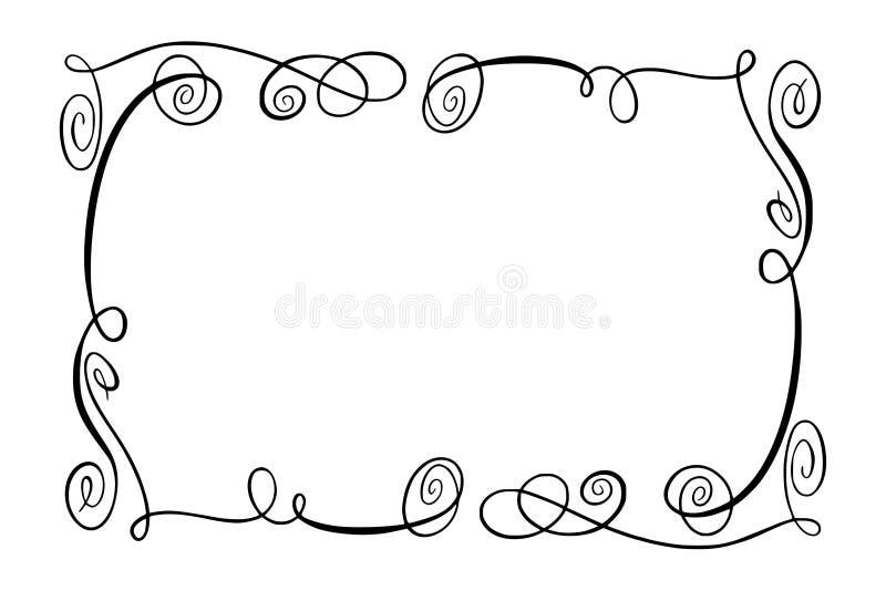 Flourish-Vektor-Rahmen Rechteck mit Squiggles, Rotationen und Verschönerungen für Bild und Textelemente Hand gezeichnetes Schwarz stockfotografie