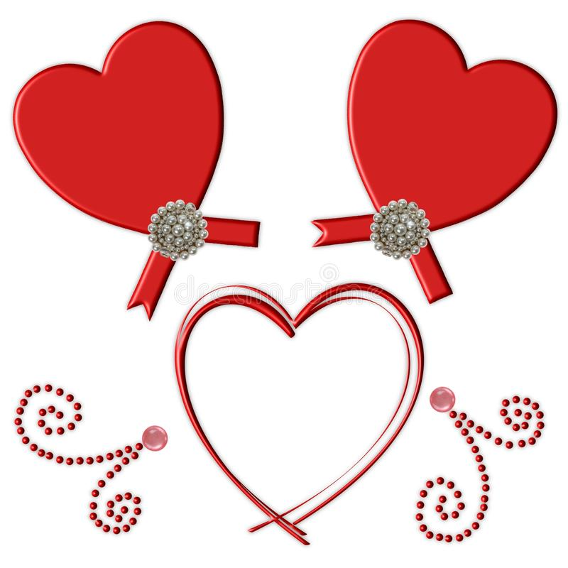 Flourish vermelho do coração ilustração stock
