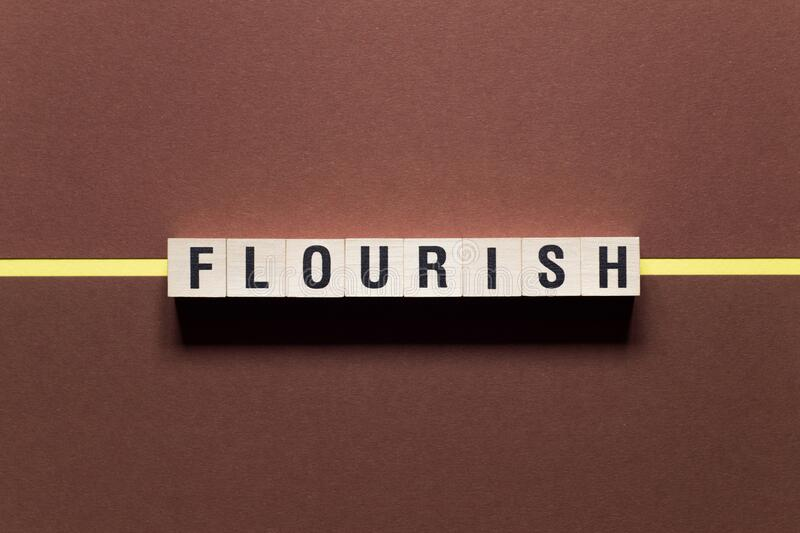 Flourish word concept on cubes.  royalty free stock image