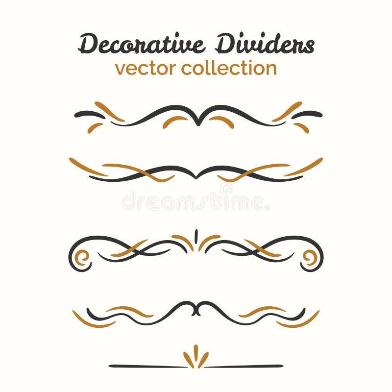 Flourishelemente Hand gezeichnete Teiler eingestellt Dekoratives dekoratives Element Vektoraufwändige Auslegung stock abbildung