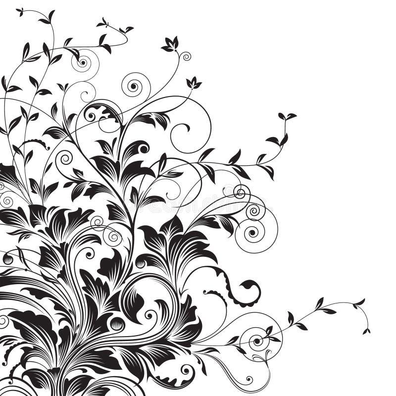 Flourishes. Floral drawing of corner decorative background. illustration layered