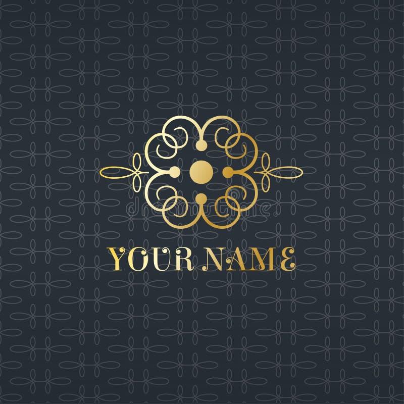 Flourishes calligraphic monogram emblem template. Luxury elegant frame ornament line logo design vector illustration. Flourishes calligraphic monogram emblem stock photos