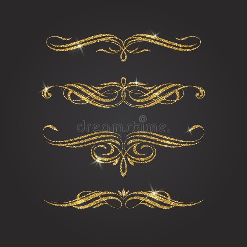 Flourishes d'or de scintillement illustration stock