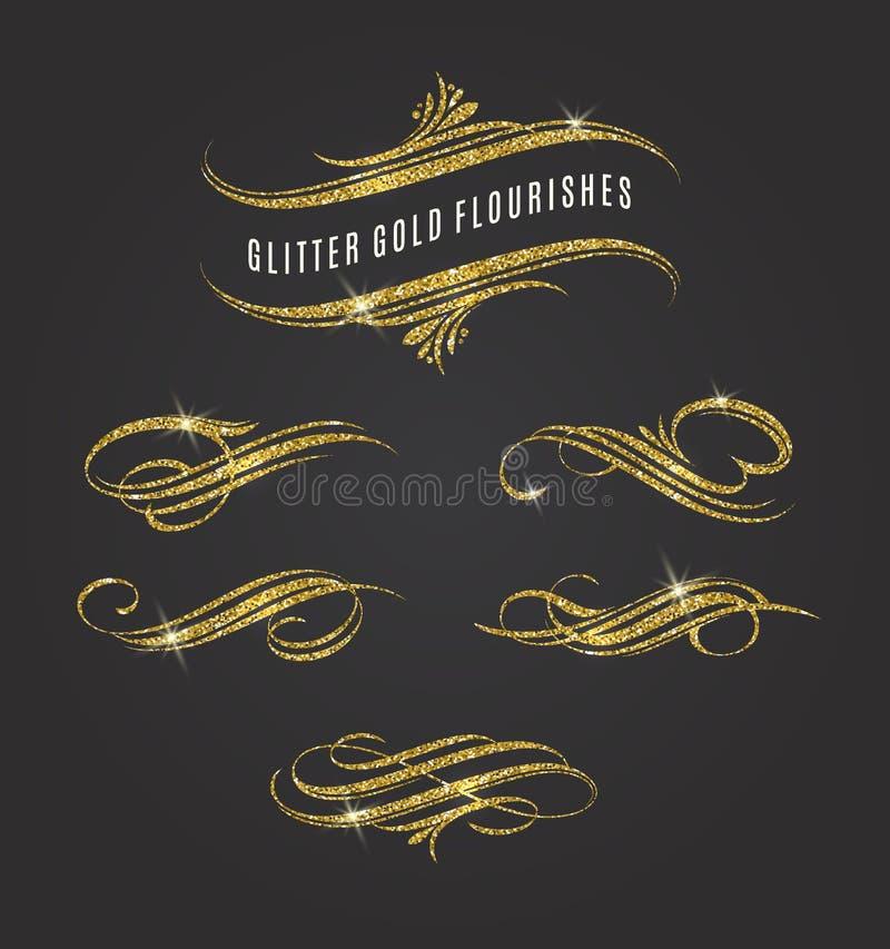 Flourishes d'or de scintillement illustration libre de droits