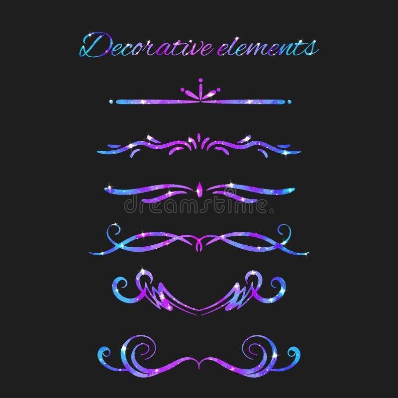Flourishes de vecteur Diviseurs réglés Remous décoratifs tirés par la main illustration stock