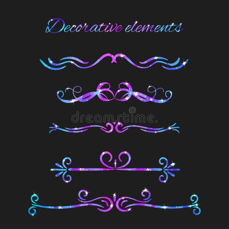 Flourishes del vector Divisores fijados Remolinos decorativos dibujados mano ilustración del vector