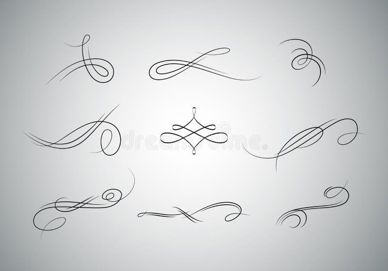 flourishes dell'annata fissati illustrazione vettoriale