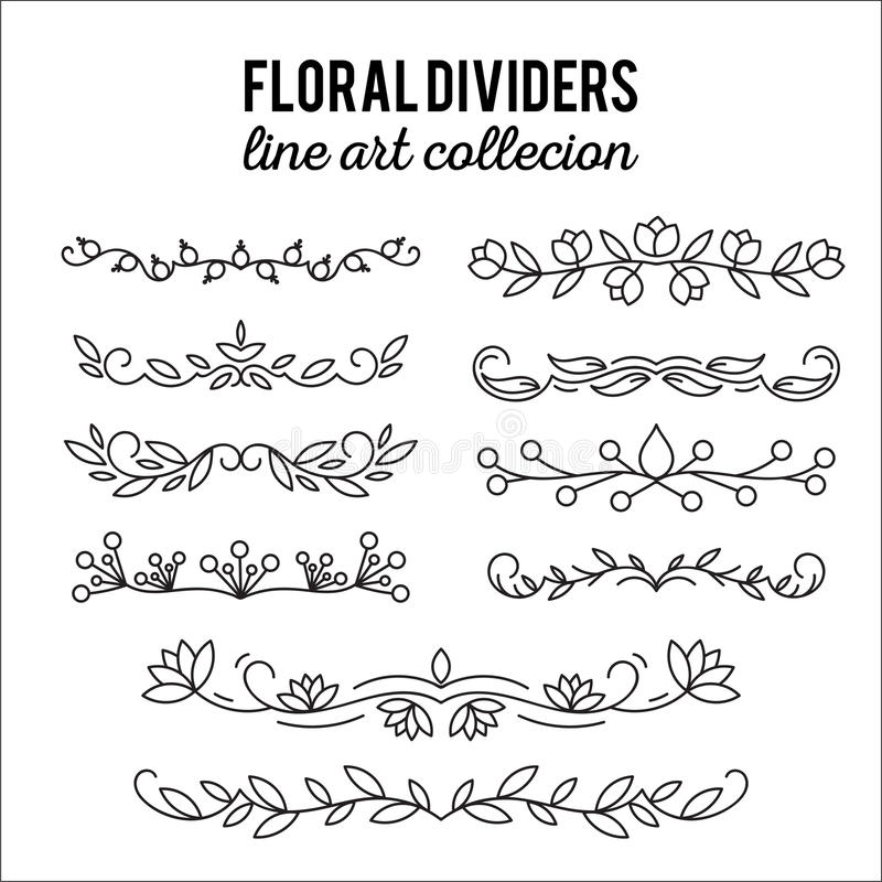 Flourishes. Dividers set. Line style decoration. Ornamental decorative elements. Vector ornate elements design. stock illustration