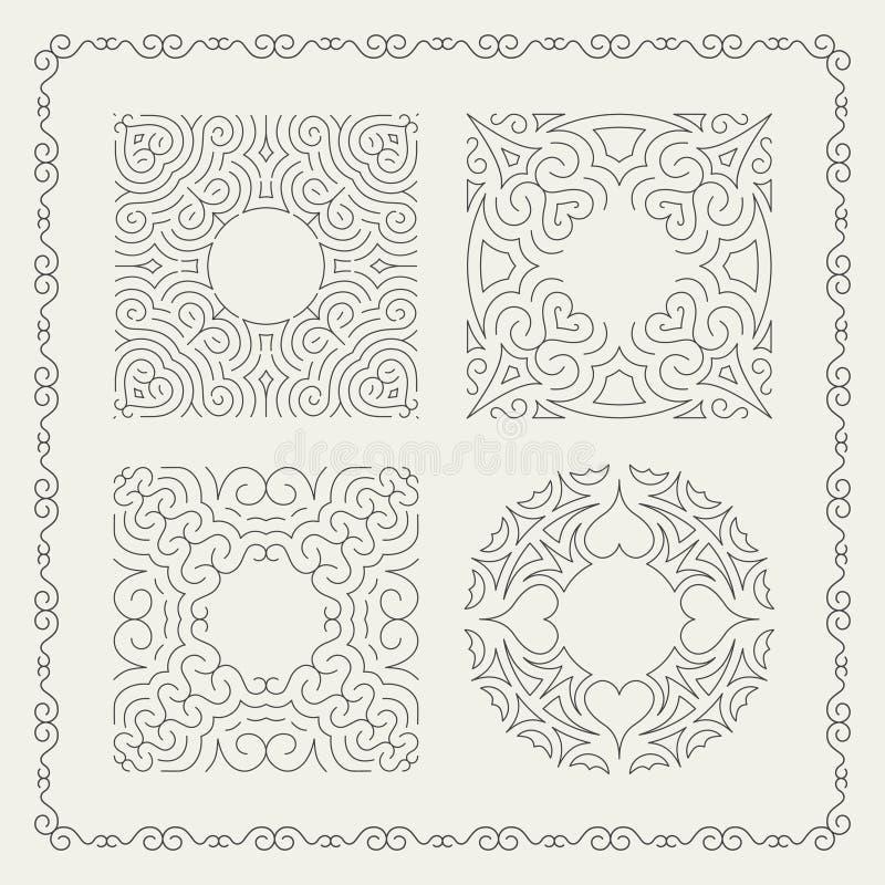 Flourishes-kalligraphischer Rahmen Retro- Design für Einladungen, stock abbildung