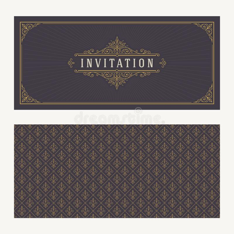 Flourishes and ornamental vector vintage design for invitation or greeting card vector illustration