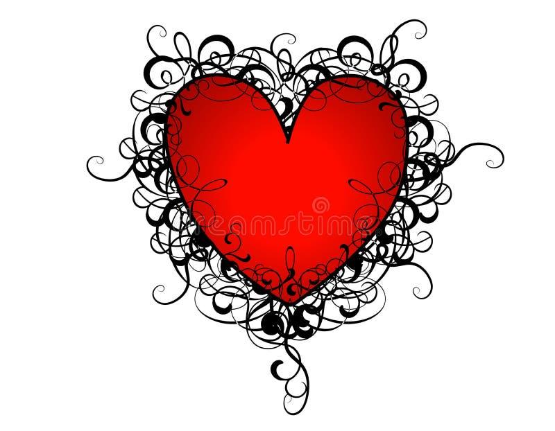 Flourishes rojos del corazón del día de tarjeta del día de San Valentín stock de ilustración