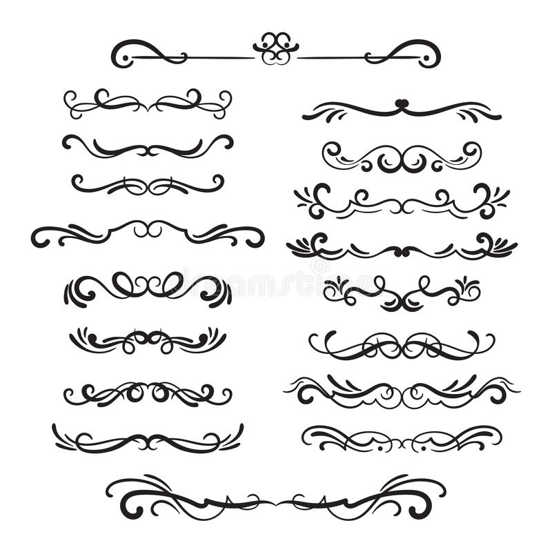 Flourishes vintage. Ornamental borders and dividers, filigree ornament swirls. Victorian decoration elements. royalty free illustration
