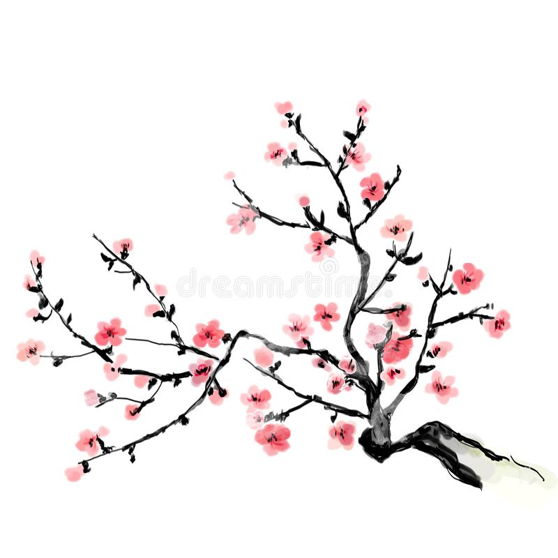 A flourishing branch of cherry, painting. Japanese art.  Bitmap illustration. A flourishing branch of cherry, painting. Japanese art. 2D Bitmap illustration. Png vector illustration