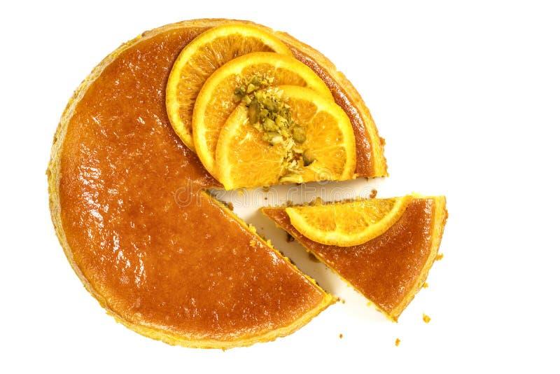 Flourless оранжевое изолированное взгляд сверху торта стоковые изображения rf