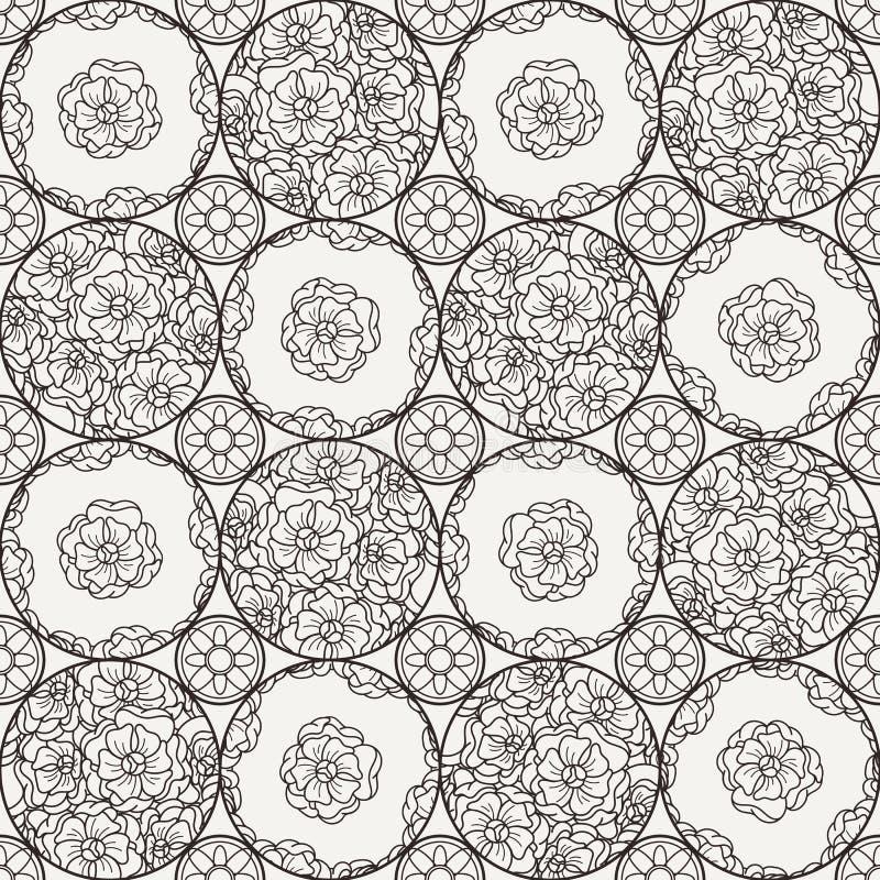 Flover tapet i stilen av Art Nouveau stock illustrationer