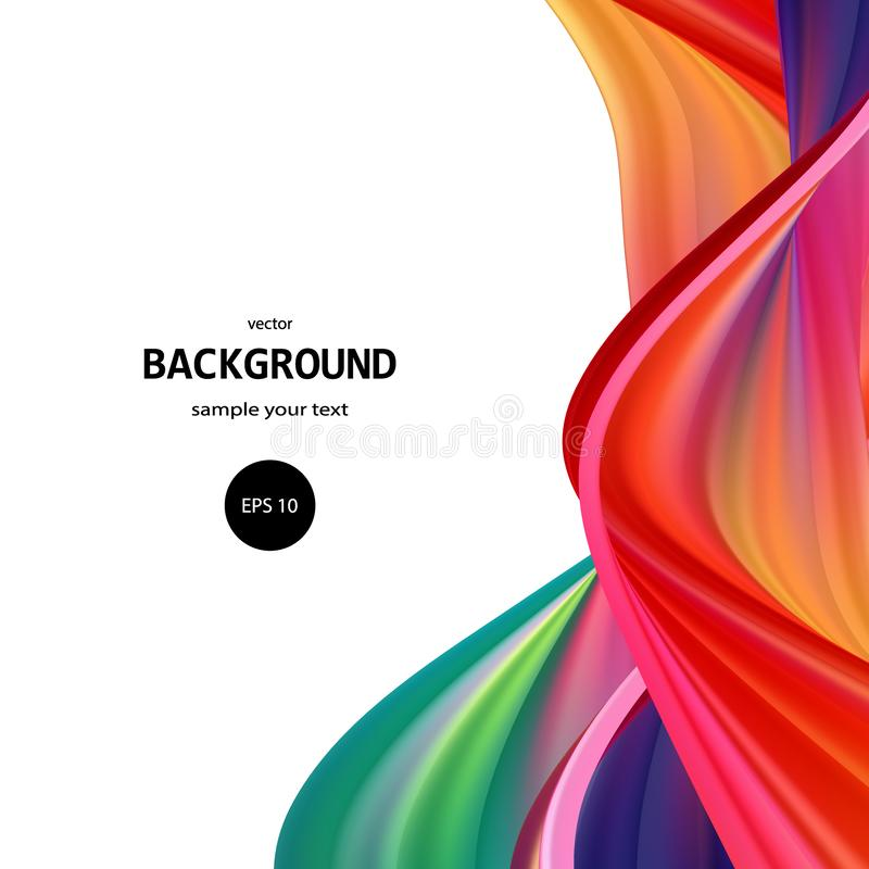 Flow of acrylic multi-colored paint. Colored waves. Abstract vector wave background. eps 10 stock illustration