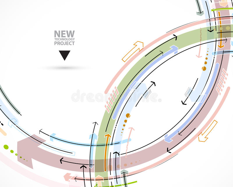 Flow of arrows. Imagination of business or technology process. V. Ector futuristic background with great idea for presentation royalty free illustration