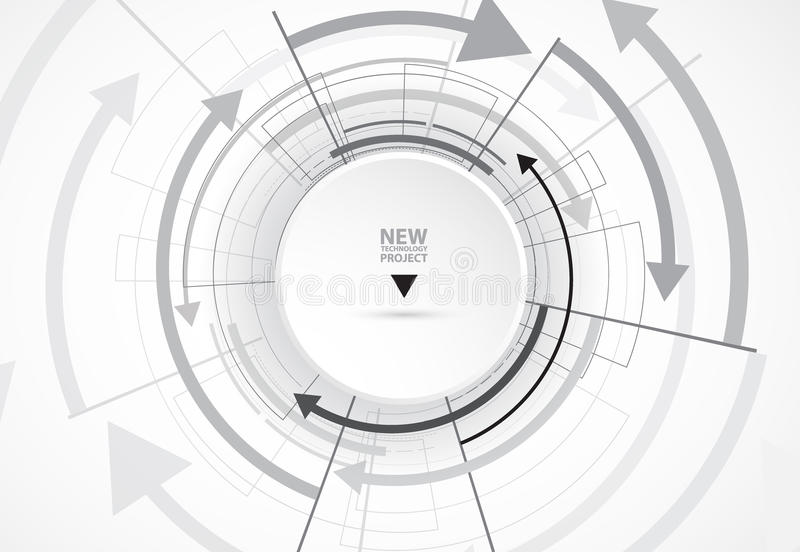 Flow of arrows. Imagination of business or technology process. Vector futuristic background with great idea for presentation stock illustration