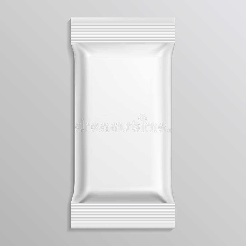 Flow blank white pack vector template. Pack paper envelope and wrap pack closed bag illustration stock illustration