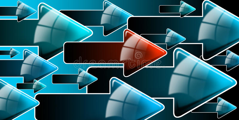 Flow blue and red arrows. Abstract background with blue and one red arrows, internet connection and flow stock illustration