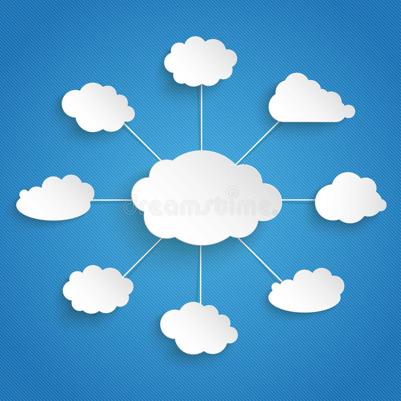 Flow Chart Connected Clouds Blue Sky. Paper clouds on the blue background stock illustration