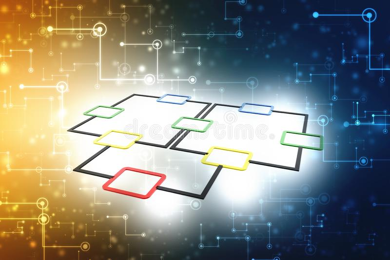 Flow Chart Concept, Planning. 3d render stock illustration