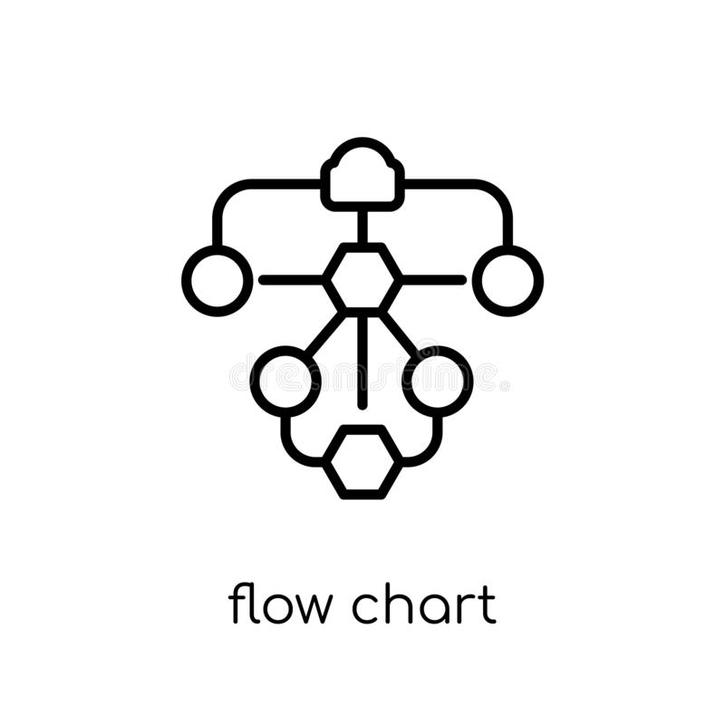 Flow chart icon. Trendy modern flat linear vector Flow chart icon on white background from thin line Business and. Analytics collection, editable outline stroke royalty free illustration