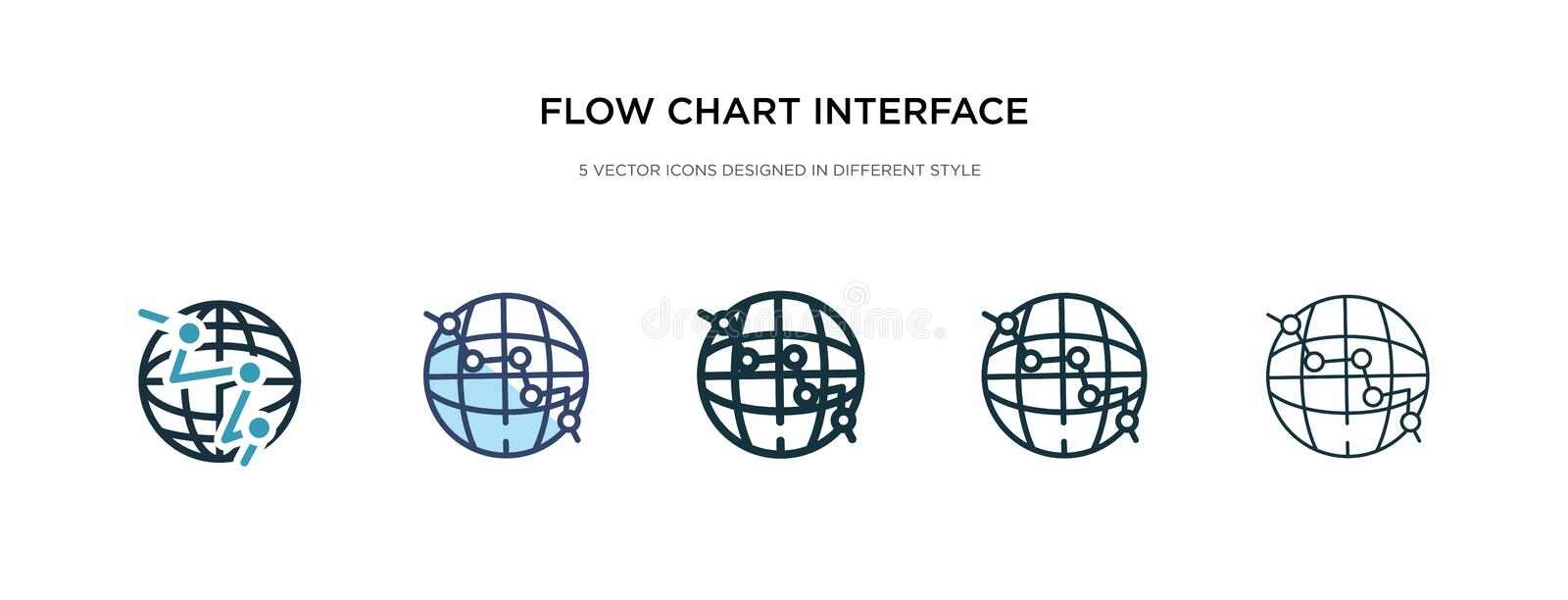 Flow chart interface icon in different style vector illustration. two colored and black flow chart interface vector icons designed. In filled, outline, line and stock illustration
