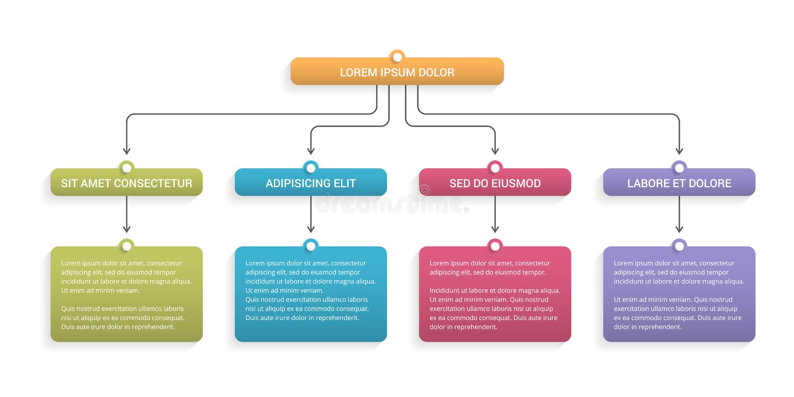 Flow Chart. With 3 levels, infographic template for web, business, presentations vector illustration