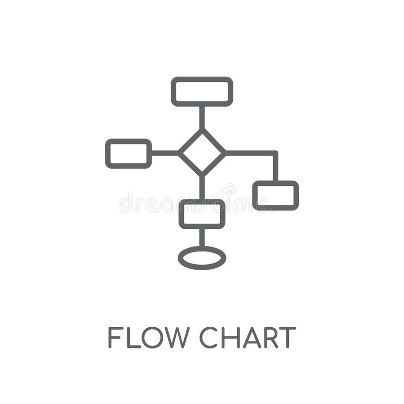Flow chart linear icon. Modern outline Flow chart logo concept o. N white background from Business and analytics collection. Suitable for use on web apps, mobile royalty free illustration